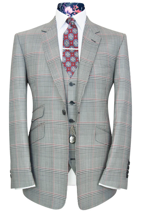 William Hunt Savile Row Grey three piece notch lapel suit with red and black overcheck