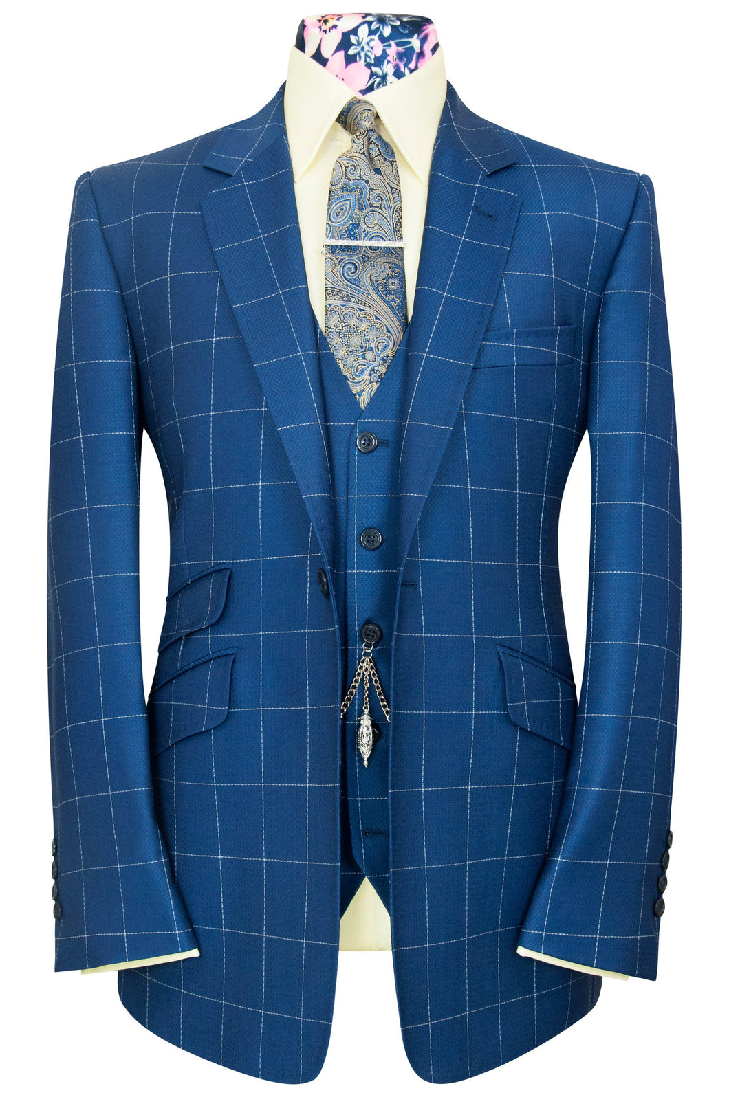 William Hunt Savile Row French navy three piece notch lapel suit with chalk overcheck
