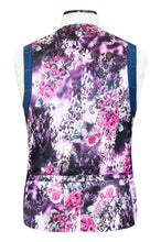 William Hunt Savile Row French navy waistcoat with chalk overcheck featuring a striking purple floral back lining with pink and white highlights