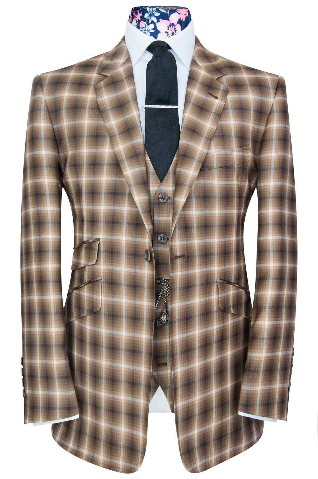 The Caldwell Barley Suit With Daisy White Windowpane Check Aw18 Black Label Suits