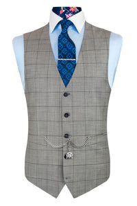 The Alexander Light Grey Suit with Black Overcheck Waistcoat Front