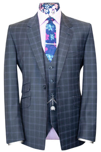 The Camden Grey Tonic Suit with Lilac Overcheck