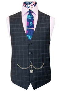 The Camden Grey Tonic Suit with Lilac Overcheck Waistcoat Front