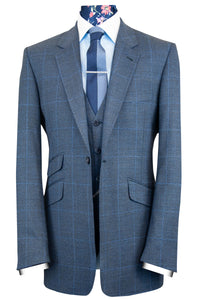 The Duke Blue Suit with Sky Blue Windowpane Check Suit