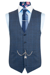 The Duke Blue Suit with Sky Blue Windowpane Check Waistcoat Front