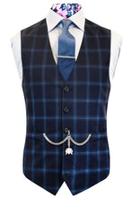 The Chandler Navy Suit with Sky Blue Overcheck Front Waistcoat
