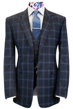 The Chandler Navy Suit with Sky Blue Overcheck
