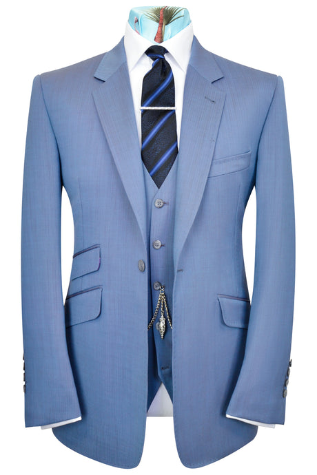 Blue grey semi-plain three piece notch lapel suit