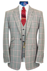 The Caldwell Grey with Red and White Windowpane Check