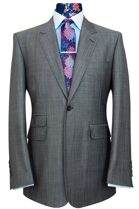 The Caldwell Blue Over Grey Herringbone Suit