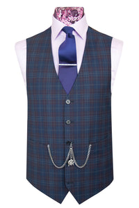 The Hawkins Oxford Blue with Plum and White Grid Check Waistcoat