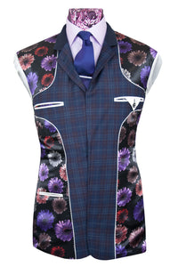 The Hawkins Oxford Blue with Plum and White Grid Check Suit Lining