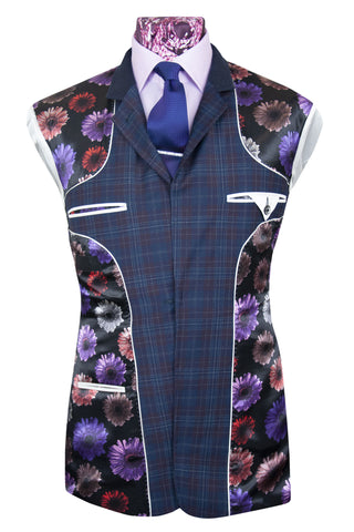 The Hawkins Oxford Blue with Plum and White Grid Check Suit