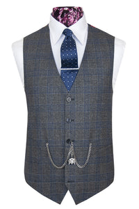 The Hammond Grey with Navy Blue Check Waistcoat