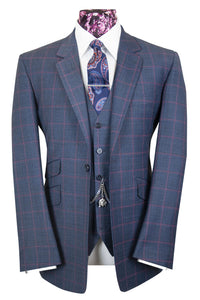The Griffin Slate Blue Suit with Raspberry Over Check