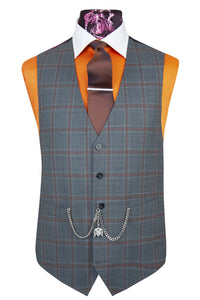 The Hunter Stone Grey Suit with Orange Over Check Waistcoat