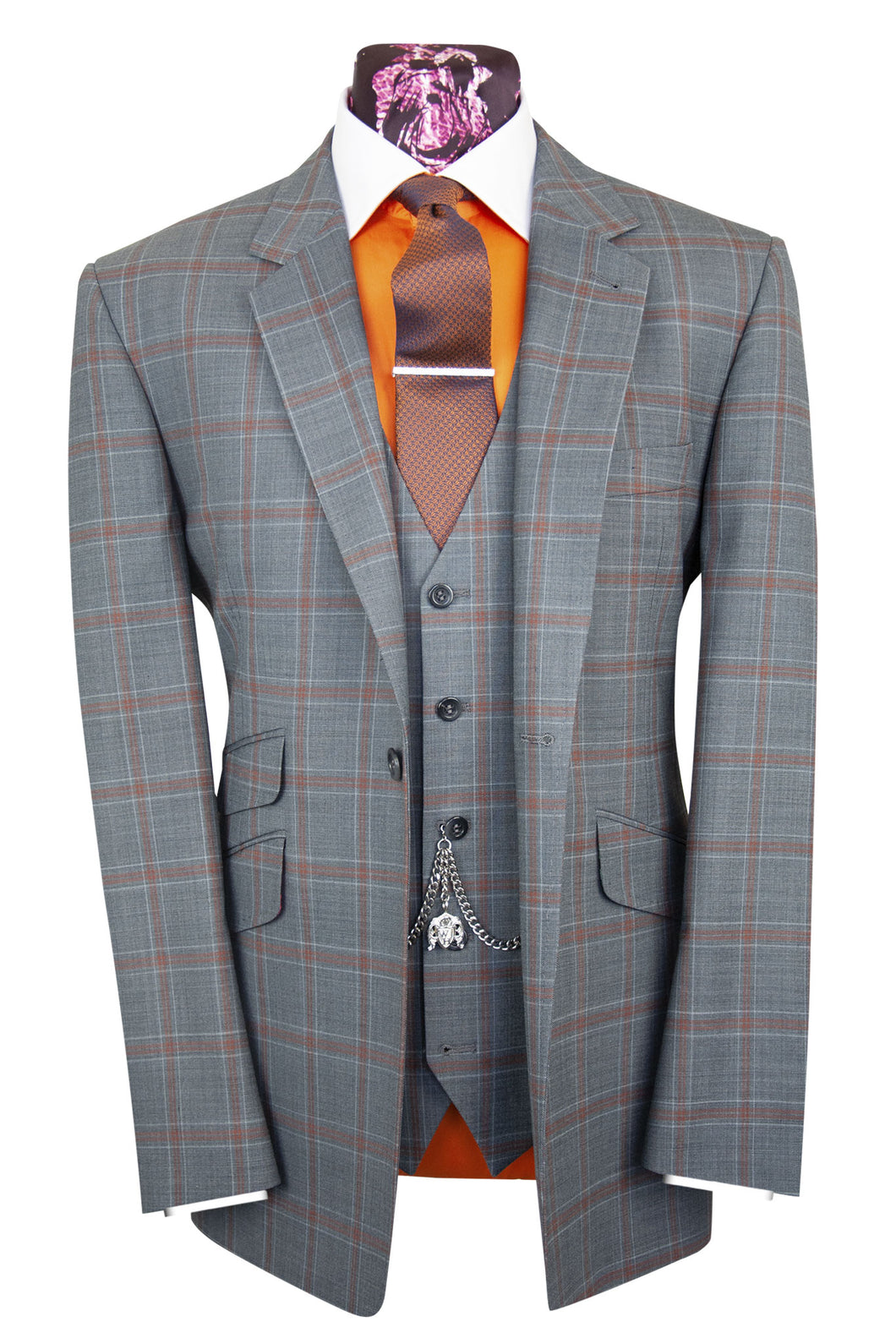 The Hunter Stone Grey Suit with Orange Over Check
