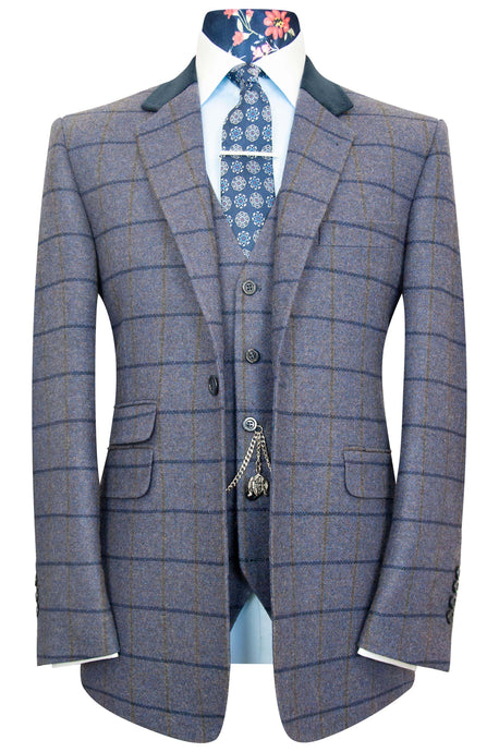 The Caldwell Melange Blue Jacket with Olive and Oxford Blue Overcheck