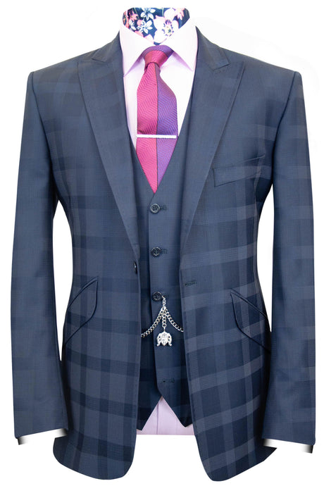 The Ackles Navy Classic Suit with Subtle Check and Pindot