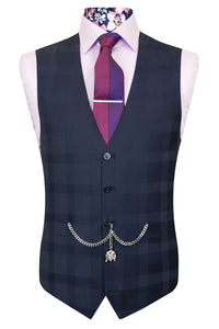 The Ackles Blue Classic Suit with Subtle Check and Pindot Waistcoat Front