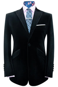 William Hunt Savile Row Black Velvet Single Breasted Peak Lapel Suit