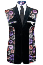 The Ashmore Black Velvet Two Piece Peak Lapel Suit with black base lining with multi-coloured floral pattern