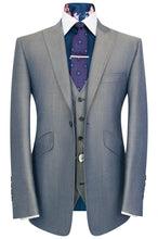 William Hunt Savile Row Silver grey shot three piece peak lapel suit