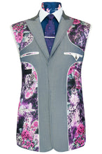 William Hunt Savile Row Silver grey shot three piece suit featuring a purple floral lining with pink and white highlights