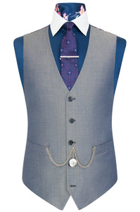 William Hunt Savile Row Silver grey shot waistcoat featuring a purple floral back lining with pink and white highlights