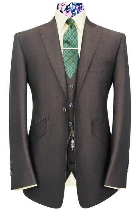 William Hunt Savile Row Olive brown shot three piece peak lapel suit