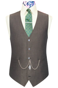 William Hunt Savile Row Olive brown shot waistcoat featuring a black back base lining with multi-coloured floral pattern