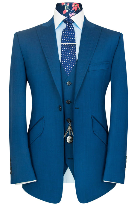 William Hunt Savile Row Cobalt blue shot three piece peak lapel suit