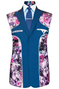 William Hunt Savile Row Cobalt blue shot three piece suit with purple floral lining with pink and white highlights