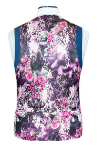 William Hunt Savile Row Cobalt blue shot waistcoat with purple floral back lining with pink and white highlights
