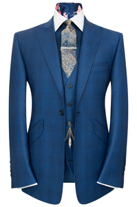 William Hunt Savile Row Blue over blue overcheck three piece peak lapel suit