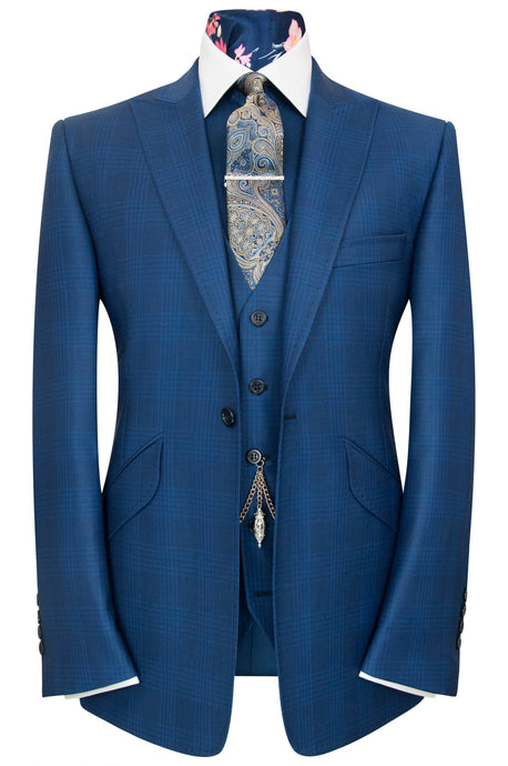 William Hunt The Ashmore Blue Over Blue Overcheck Suit