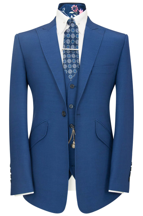 William Hunt Savile Row Prussian blue three piece peak lapel suit