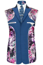 William Hunt Savile Row Prussian blue three piece suit featuring a purple floral lining with pink and white highlights