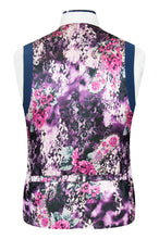 William Hunt Savile Row Prussian blue waistcoat featuring a purple back floral lining with pink and white highlights