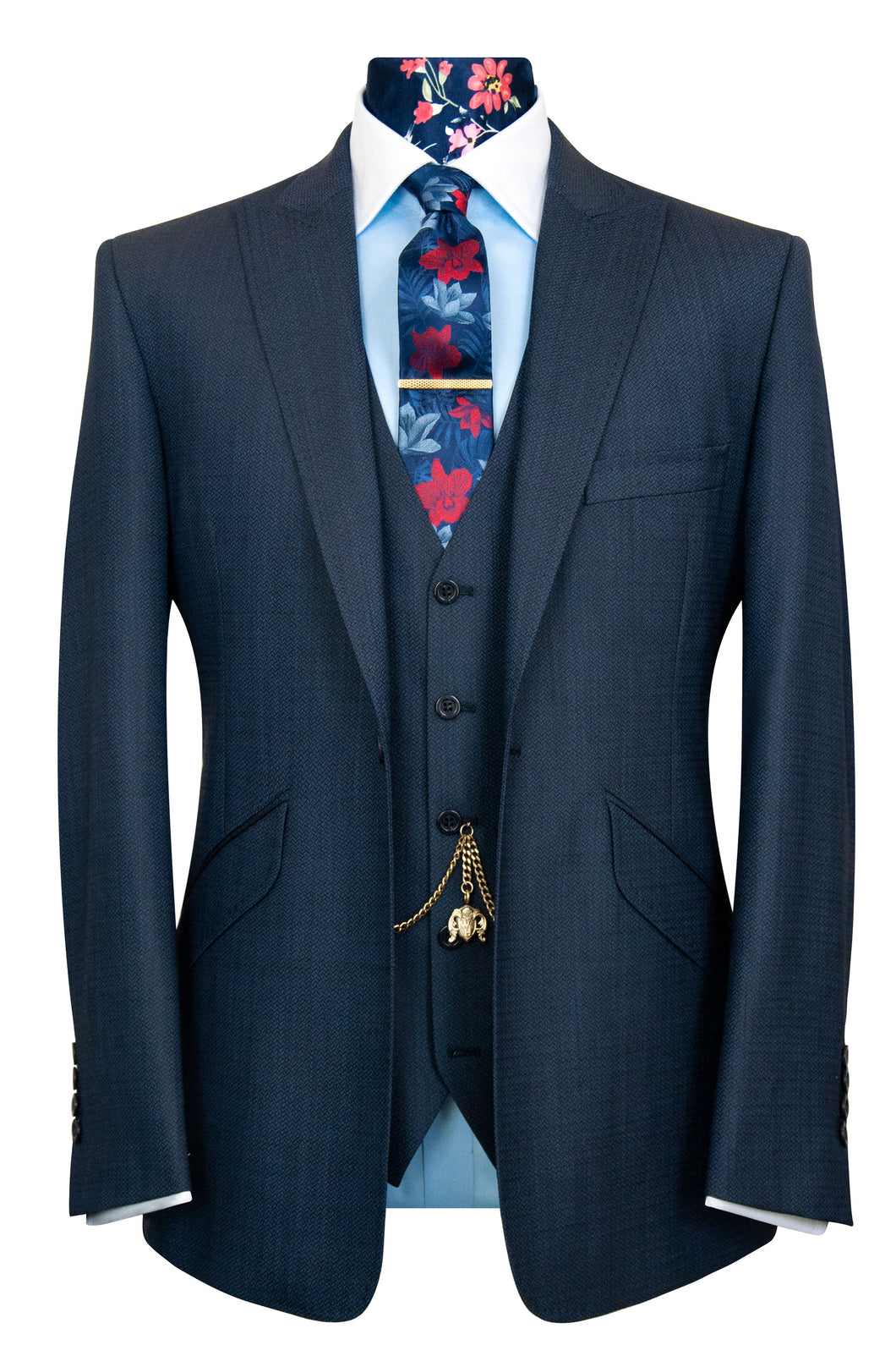William Hunt Savile Row | The Dryden Oxford Blue Chevron Weave Suit