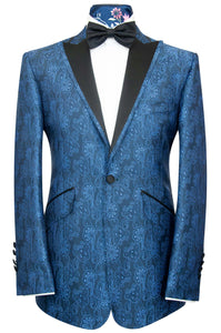 William Hunt Savile Row | The Lewis Dinner Jacket in Cobalt Blue Floral Paisley Over Navy