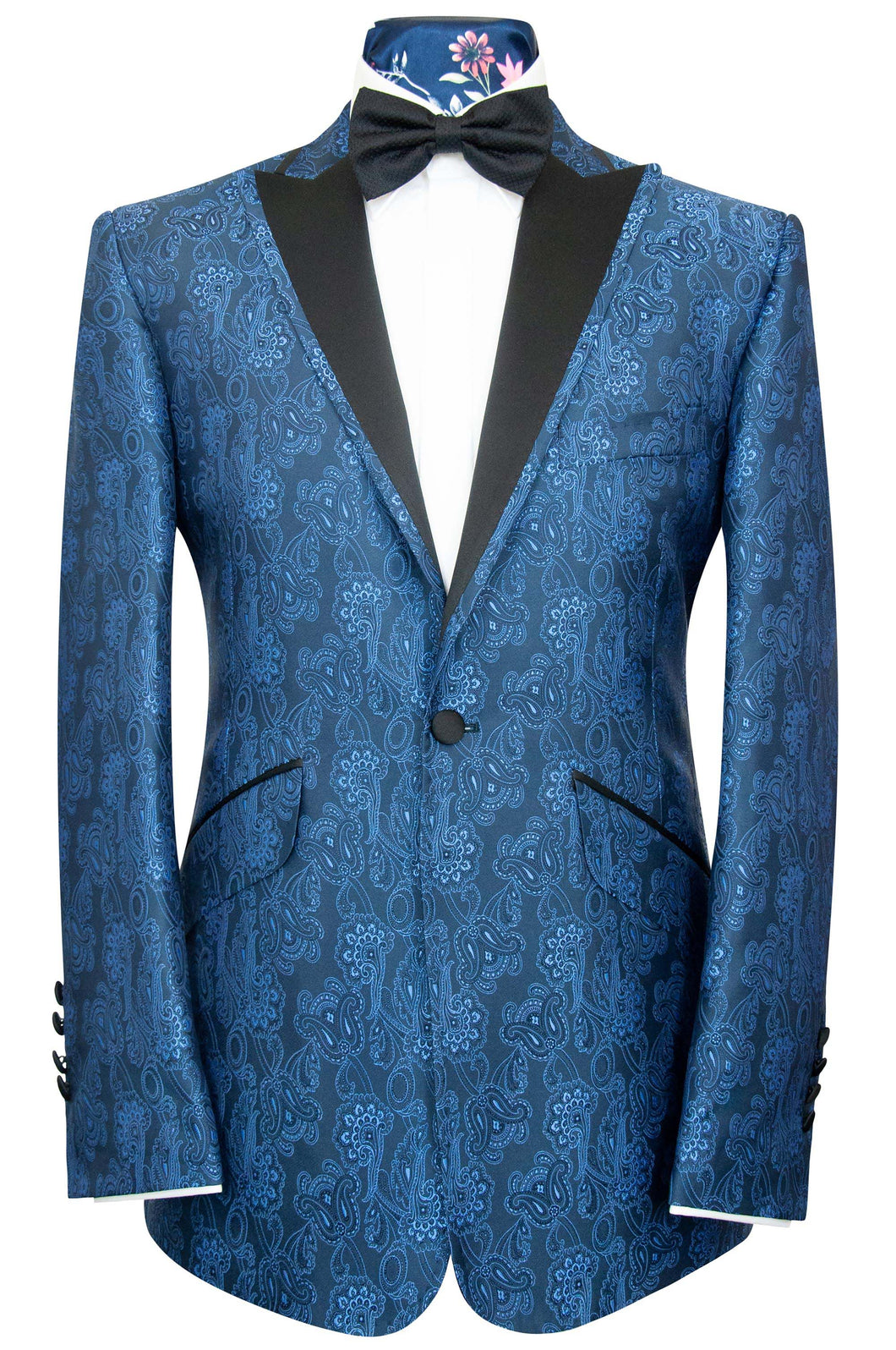 The Ackerman Classic Dinner Jacket in Cobalt Blue Floral Paisley Over Navy