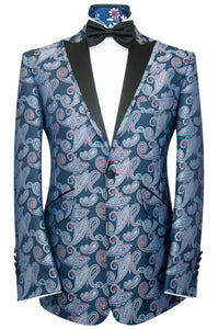 The Ackerman Classic Dinner Jacket in Sky Blue and Red Paisley Over Oxford Blue