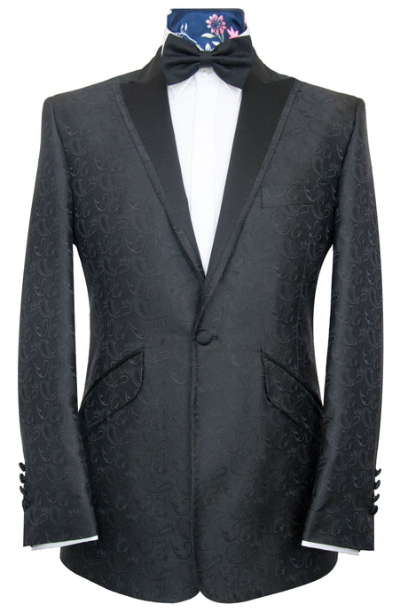 The Ackerman Classic Dinner Jacket in Black Paisley Pattern