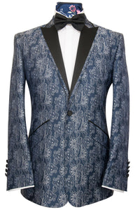 William Hunt Savile Row | The Lewis Dinner Jacket in White Over Navy Floral Paisley Pattern