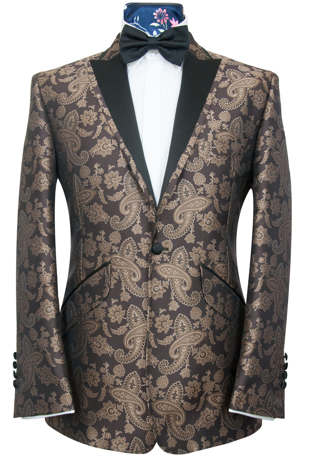 William Hunt Savile Row | The Lewis Dinner Jacket in Chocolate with Muted Bronze Paisley Pattern