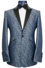 The Ackerman Classic Dinner Jacket in Mocha Over Navy Oval Paisley Pattern Christopher Dean Dancing On Ice Torvill