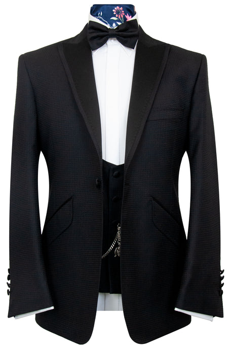 The Berkley Classic Black Geometric Weave Dinner Suit