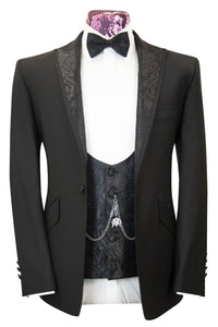 The Roth Classic Black Dinner Suit with Paisley Lapel