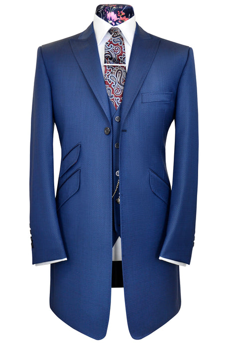 Lapis blue double plain peak lapel three piece frock coat suit